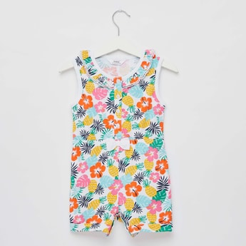 All-Over Tropical Print Sleeveless Playsuit with Button Detail
