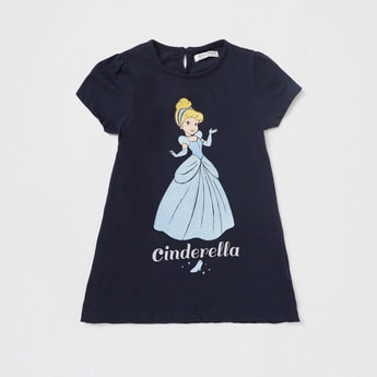 Cinderella Graphic Print Dress with Round Neck and Short Sleeves