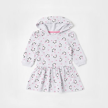 All-Over Panda Graphic Print Dress with Hood and Long Sleeves