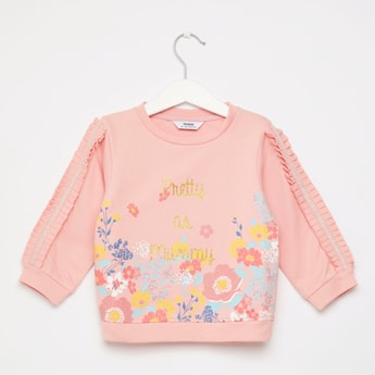 Printed Round Neck Sweatshirt with Lace Detail