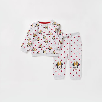 All-Over Minnie Mouse Print Sweatshirt and Full Length Jog Pants Set