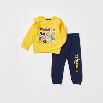 Mickey Mouse Print Ruffled Sweatshirt and Full-Length Jogger Set