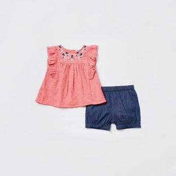 Embroidered Detail Top with Denim Shorts