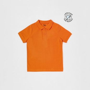 Solid Polo Neck T-shirt with Collar and Short Sleeves