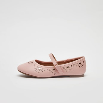 Textured Mary Jane Shoes with Hook and Loop Closure