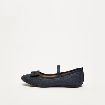 Textured Slip-On Ballerina Shoes with Bow Applique Detail
