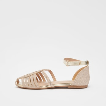 Glitter Detailed Sandals with Hook and Loop Closure