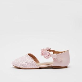 Embellished Ankle-Strap Sandals with Floral Applique