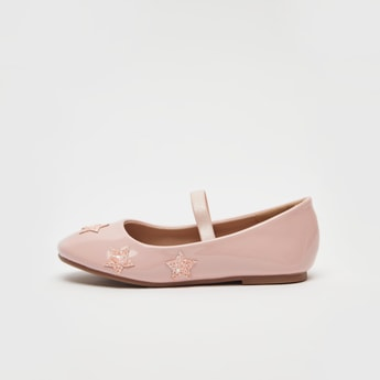 Star Applique Detail Mary Jane Shoes with Elasticised Straps