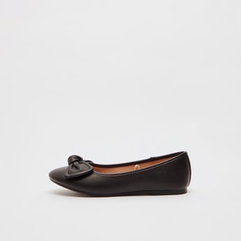 Solid Ballerinas with Bow Applique Detail