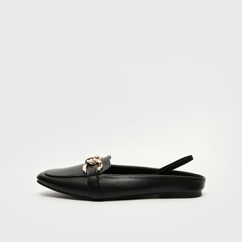 Solid Chain-Link Detail Slip-On Mules and Backstrap