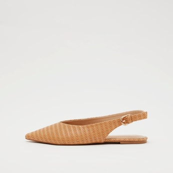 Textured Mule Sandals with Buckled Back Strap