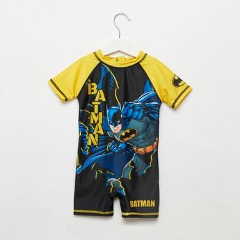 Batman Graphic Print Swimsuit with Zip Closure
