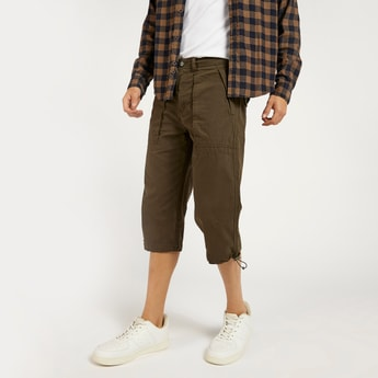 Solid Capris with Pockets and Tie Up Hems