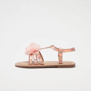 Flower Applique Detail Sandals with Hook and Loop Closure