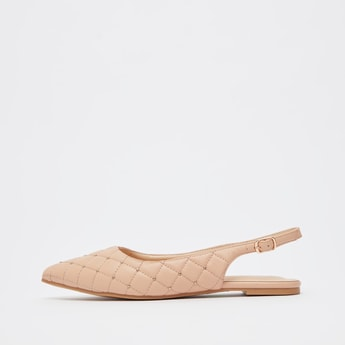 Quilted Pointed Toe Flat Sandals with Sling Back Strap