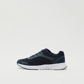 Solid Lace-Up Sports Shoes with Mesh Detail