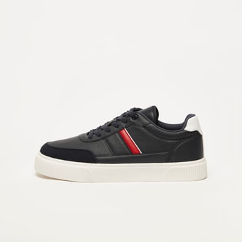 Textured Lace-Up Casual Sneakers