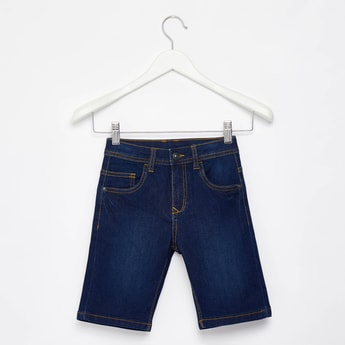 Solid Denim Shorts with Pocket Detail and Belt Loops
