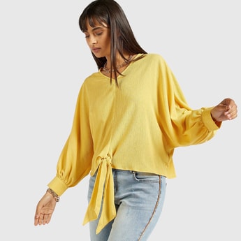 Textured V-neck Top with Long Sleeves and Front Knot Detail