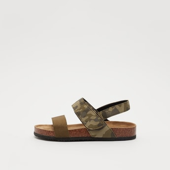 Camo Print Sandals with Hook and Loop Closure