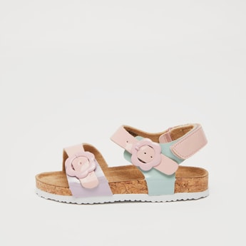 Solid Buckle Detail Sandals with Hook and Loop Closure