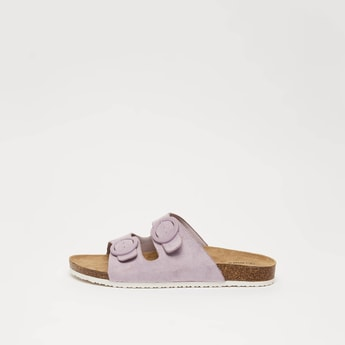 Dual Strap Slip On Sandals with Buckle Detail