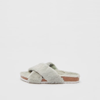 Cross Strap Bedroom Slippers with Plush Detail