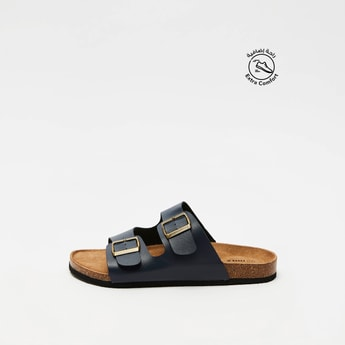 Solid Slip-On Sandals with Pin Buckle Strap