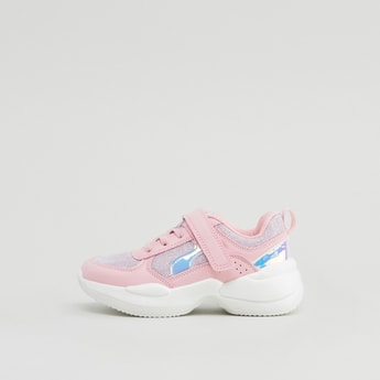Glitter Detail Sports Shoes with Hook and Loop Closure