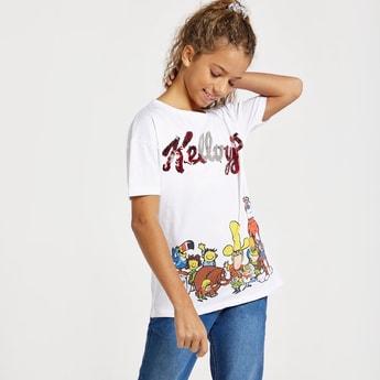 Kelllogg's Sequin Embellished Cartoon Print T-shirt with Short Sleeves