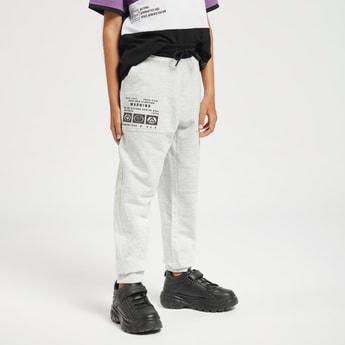 Text Print Jog Pants with Pockets and Drawstring Closure