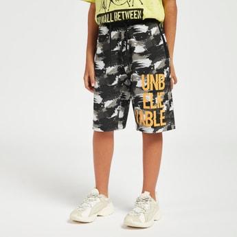 Printed Knee Length Shorts with Drawstring and Pockets