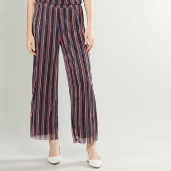 Striped and Embellished Mid-Rise Palazzos