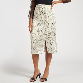 Printed Midi A-line Skirt with Elasticated Waist