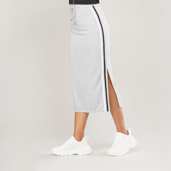 Solid Midi Skirt with Drawstring and Side Slit