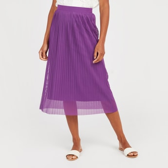 A-Line Midi Skirt with Pleat Detail