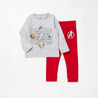 Avengers Print Round Neck T-shirt and Full Length Pyjama Set