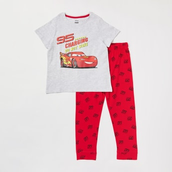 Cars Print T-shirt and Full Length Jog Pants Set