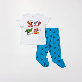 Avengers Print Short Sleeves T-shirt and Full Length Pyjama Set
