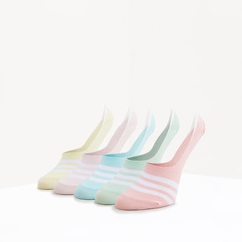 Set of 5 - Striped No Show Socks