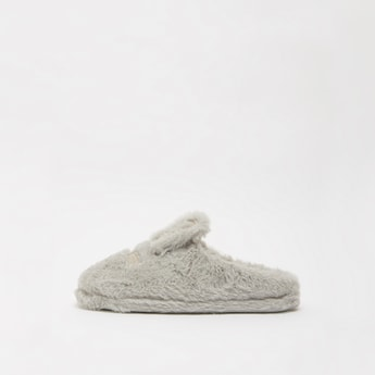 Plush Detail Slip-On Bedroom Slippers