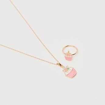 Cupcake Unicorn Pendant Necklace and Earrings Set