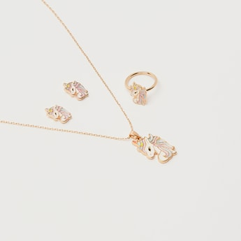 طقم مجوهرات يونيكورن 4 قطع