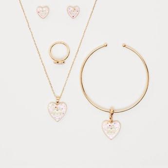 Heart Applique Detail 5-Piece Jewellery Set