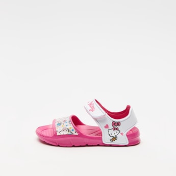 Hello Kitty Print Sandals with Hook and Loop Closure