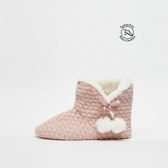 Textured Bedroom Boots with Bow and Pom Pom Accent