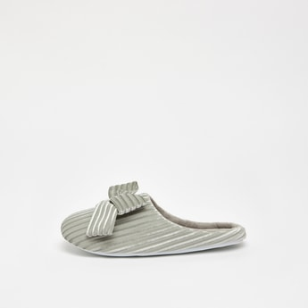 Stripe Textured Bedroom Slides with Bow Applique