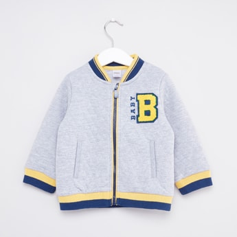 Quilted Varsity Jacket with Long Sleeves and Zip Closure