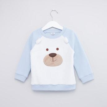 Textured Sweatshirt with Round Neck and Raglan Sleeves
